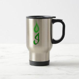 Logotipo verde de la llama taza
