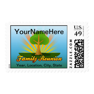 Logotipo verde de la reunión de familia del árbol sellos