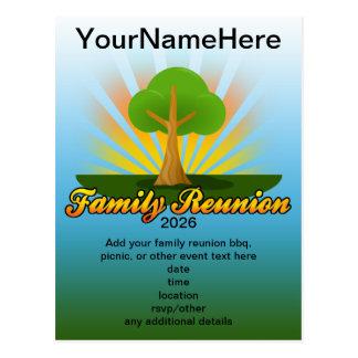Logotipo verde de la reunión de familia del árbol postal