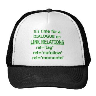 Logotipo verde de las relaciones del vínculo gorras de camionero