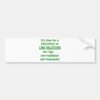 Logotipo verde de las relaciones del vínculo pegatina para auto