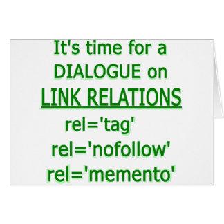 Logotipo verde de las relaciones del vínculo tarjeta de felicitación