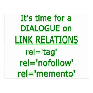 Logotipo verde de las relaciones del vínculo tarjetas postales