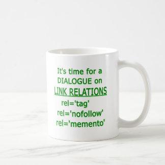 Logotipo verde de las relaciones del vínculo taza clásica