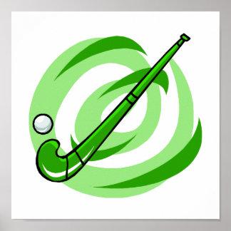 Logotipo verde del hockey hierba póster