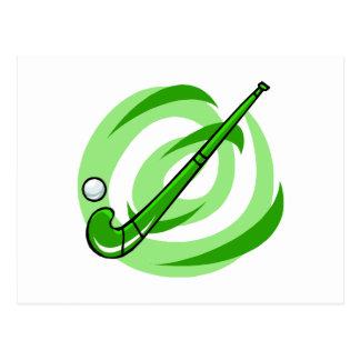 Logotipo verde del hockey hierba postales