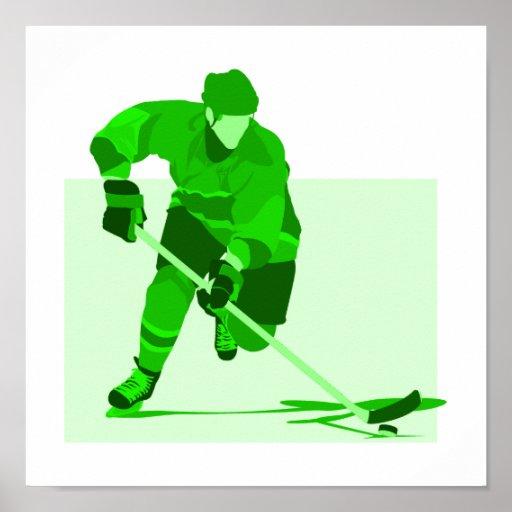 Logotipo verde del hockey póster