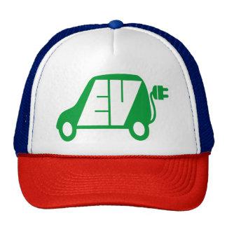 Logotipo verde del icono del vehículo eléctrico EV Gorro De Camionero