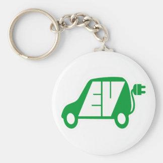Logotipo verde del icono del vehículo eléctrico EV Llavero Redondo Tipo Pin