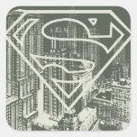 Logotipo verde del superhombre de la metrópoli calcomania cuadrada personalizada