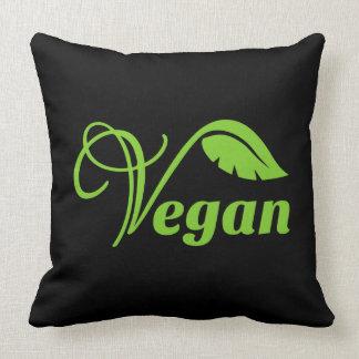 Logotipo verde del vegano cojín