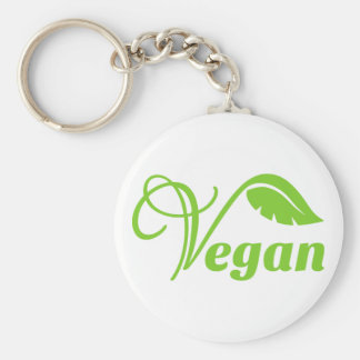 Logotipo verde del vegano llavero redondo tipo pin