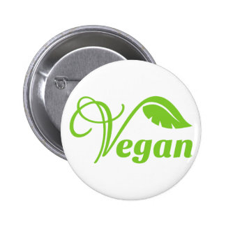 Logotipo verde del vegano pin redondo de 2 pulgadas