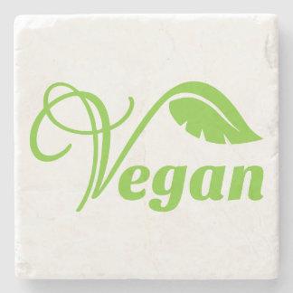 Logotipo verde del vegano posavasos de piedra