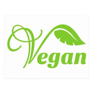 Logotipo verde del vegano postal