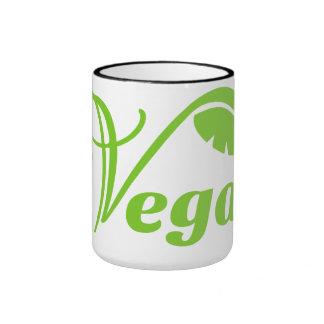 Logotipo verde del vegano taza a dos colores