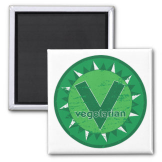 Logotipo verde vegetariano imanes de nevera