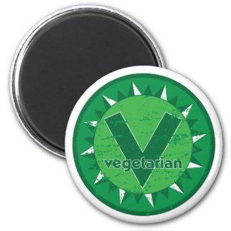 Logotipo verde vegetariano imanes para frigoríficos