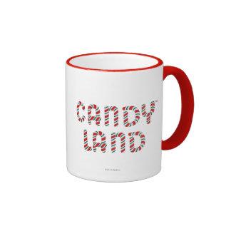 Logotipo verde y rojo de la tierra del caramelo taza de dos colores