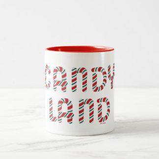 Logotipo verde y rojo de la tierra del caramelo taza de dos tonos