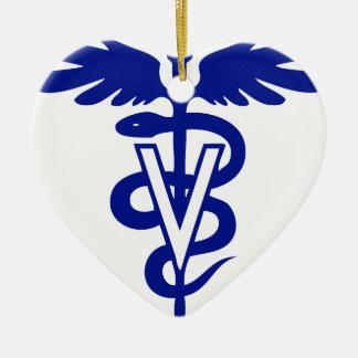 logotipo veterinario 4 adorno de cerámica en forma de corazón