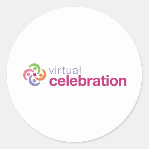 Logotipo virtual de la celebración pegatina redonda