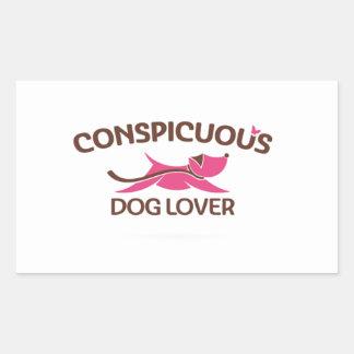 Logotipo visible del amante del perro en rosa pegatina rectangular
