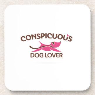 Logotipo visible del amante del perro en rosa posavasos