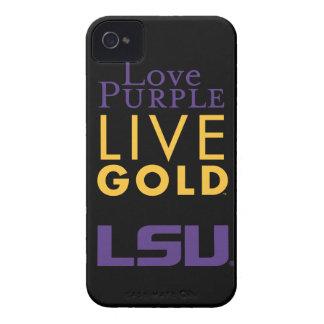 Logotipo vivo del oro de la púrpura del amor de iPhone 4 carcasas