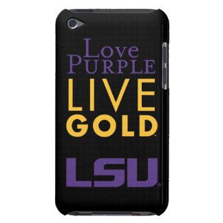 Logotipo vivo del oro de la púrpura del amor de funda iPod
