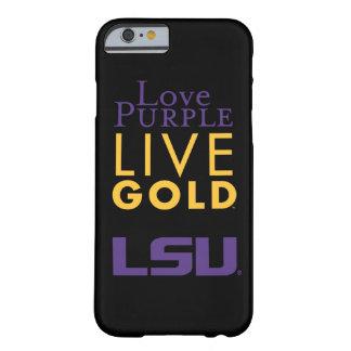 Logotipo vivo del oro de la púrpura del amor de funda para iPhone 6 barely there