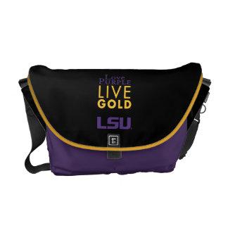 Logotipo vivo del oro de la púrpura del amor de LS Bolsas Messenger