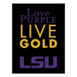 Logotipo vivo del oro de la púrpura del amor de LS Poster