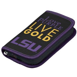 Logotipo vivo del oro de la púrpura del amor de LS Organizadores