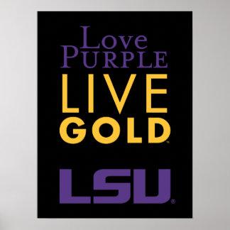 Logotipo vivo del oro de la púrpura del amor de LS Póster