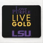 Logotipo vivo del oro de la púrpura del amor de LS Alfombrillas De Ratón