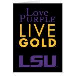 Logotipo vivo del oro de la púrpura del amor de LS Felicitacion