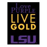 Logotipo vivo del oro de la púrpura del amor de LS Postales