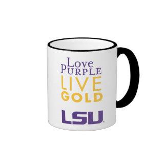 Logotipo vivo del oro de la púrpura del amor de LS Tazas