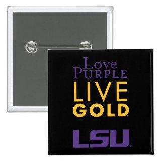 Logotipo vivo del oro de la púrpura del amor de pin cuadrada 5 cm