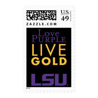 Logotipo vivo del oro de la púrpura del amor de sello postal