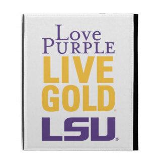 Logotipo vivo del oro LSU de la púrpura del amor