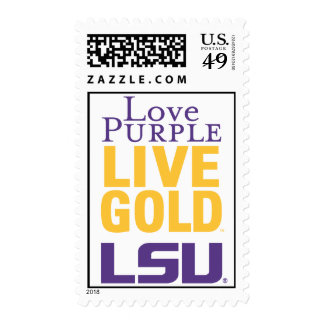 Logotipo vivo del oro LSU de la púrpura del amor Estampilla