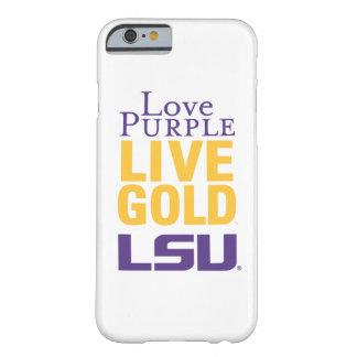Logotipo vivo del oro LSU de la púrpura del amor Funda Barely There iPhone 6