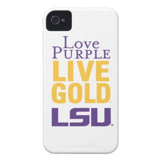 Logotipo vivo del oro LSU de la púrpura del amor Funda Para iPhone 4 De Case-Mate