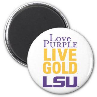 Logotipo vivo del oro LSU de la púrpura del amor Imanes