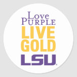Logotipo vivo del oro LSU de la púrpura del amor Pegatina Redonda