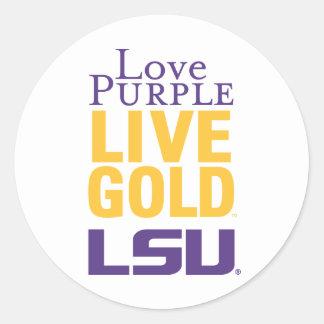 Logotipo vivo del oro LSU de la púrpura del amor Pegatinas Redondas