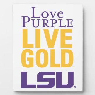 Logotipo vivo del oro LSU de la púrpura del amor Placas Con Foto