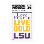Logotipo vivo del oro LSU de la púrpura del amor Sello